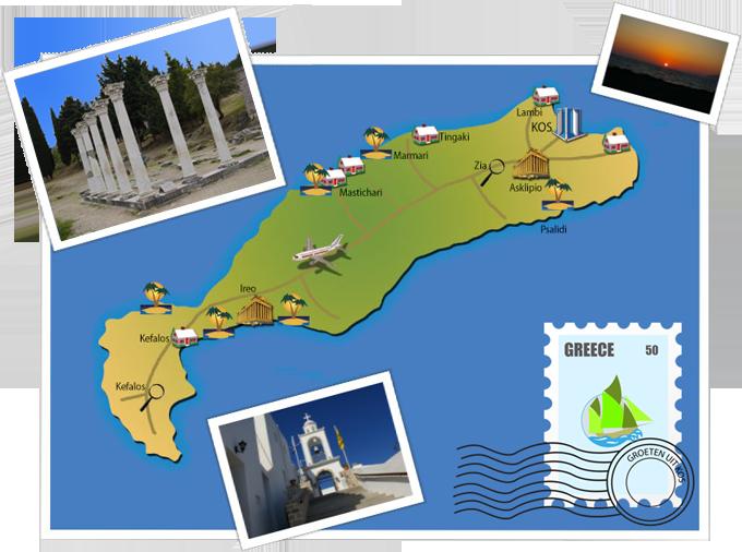 Kaartje van het eiland Kos, Griekenland